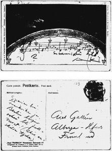 Postikortti Jean Sibeliukselta Akseli Gallen-Kallelalle. Gallen-Kallelan Museo. Kuva: GKM