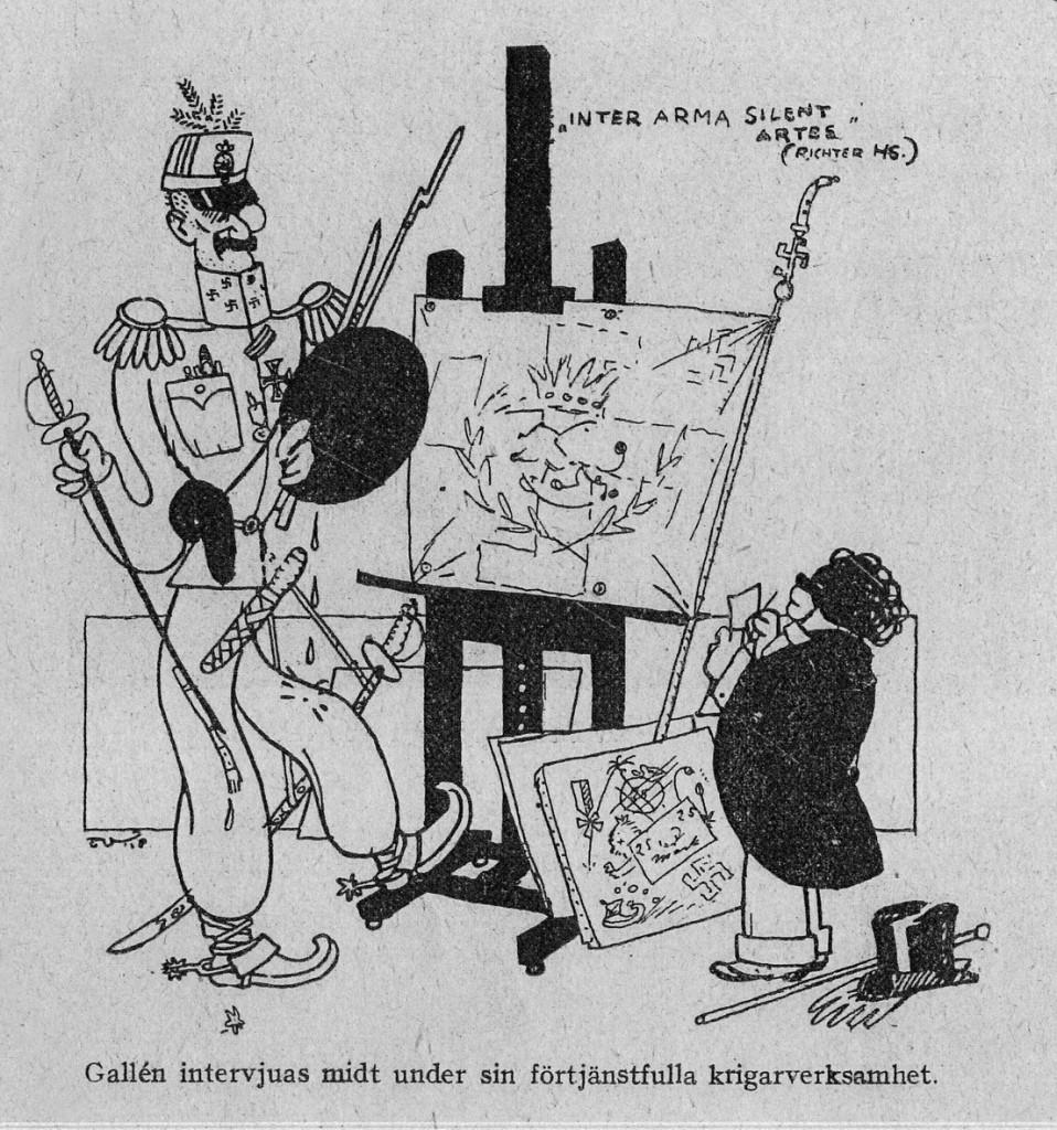 T. Vikstedt: Gallénia haastatellaan kesken ansiokasta sotapalveluaan. Pilakuva Fyren-lehdessä 9-12 / 1918) Kuva: GKM
