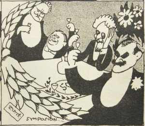T. Vikstedt: Gallén-taulujen modernisoituja kopioita: Symposion. Karikatyyri Fyren-lehdessä 18&19/1915. Kuva: Gallen-Kallelan Museo