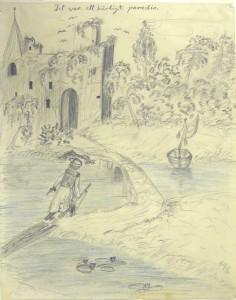 Akseli Gallen-Kallelan lapsuuden piirros. Gallen-Kallelan Museo. Kuva: Gallen-Kallelan Museo