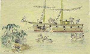 Akseli Gallen-Kallela: Intiaanit valtaavat fregatin, 1878. Gallen-Kallelan Museo. Kuva: GKM