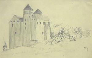 Akseli Gallen-Kallelan lapsuuden piirros. Gallen-Kallelan Museo. Kuva: GKM