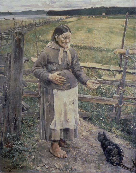 Akseli Gallen-Kallela: Akka ja kissa, 1885, öljy kankaalle, Turun taidemuseo. Kuva: GKM / Douglas Sivén