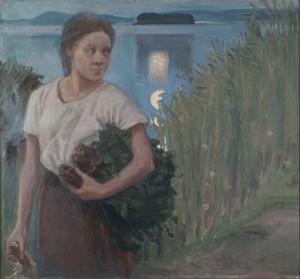 Akseli Gallen-Kallela: Saunatyttö, 1904, öljymaalaus, yksityiskokoelma. Kuva: GKM / Jukka Paavola