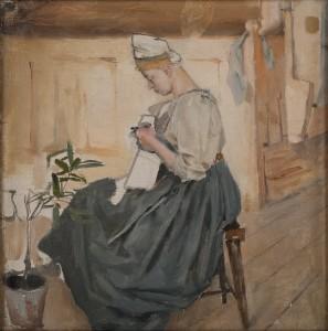 Akseli Gallen-Kallela: Mary ompelee karjalaisessa tuvassa, 1890. öljymaalaus. Gallen-Kallelan Museo. Kuva: GKM / Jukka Paavola