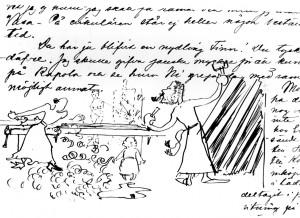 Mary, Axel ja Marjatta Gallén puutöissä, Louis Sparren piirros kirjeessä Axel Gallénille 8.5.1894. Gallen-Kallelan Museo. Kuva: GKM