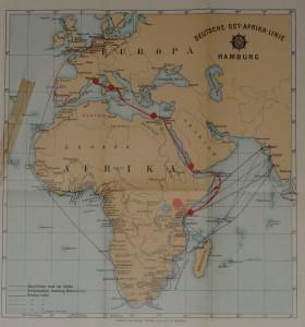 Deutsche Ost-Afrika-Linie Handbuch -kirjaan kuuluva kartta, jossa käsin tehtyjä merkintöjä. 1909. Kuva: GKM