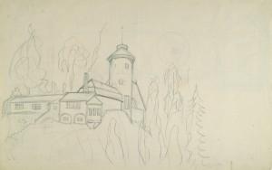 Akseli Gallen-Kallela: Ateljeeluonnos itä-pohjoissuunnasta, 1911. Kuva: GKM