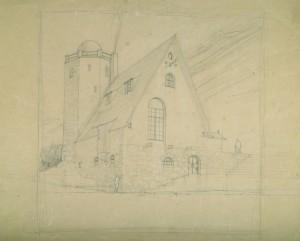 Akseli Gallen-Kallela: Tarvaspään fasadi lännestä, 1912. Gallen-Kallelan Museo. Kuva: GKM