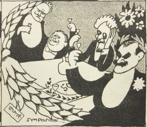 T. Vikstedt: Gallén-taulujen modernisoituja kopioita. Pilakuva Fyren-lehdessä 18-19/1915. Kuva: Gallen-Kallelan Museo