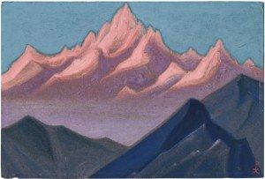 Nikolai Roerich: Aamu Himalajalla (Himalaja-vuoristoa), 1943. Tempera pahville. Idän Museo©, Moskova. Kuva: Idän Museo©.