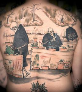Tuukka Ahonen / Hugo Simbergin Kuoleman puutarha tatuointina. Kuva: Harri Larjosto.