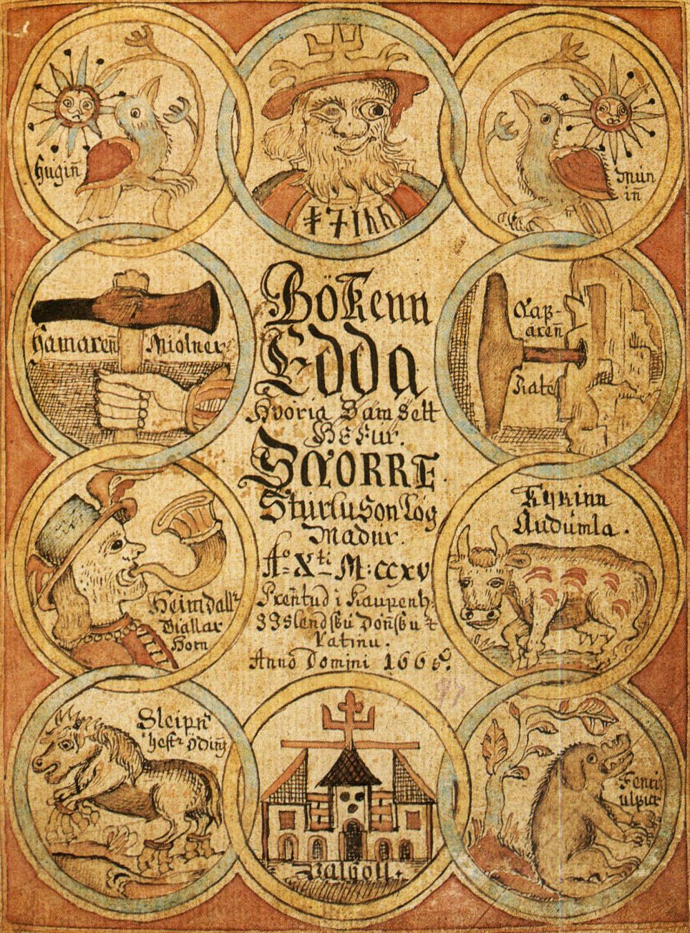 Proosa-Eddan sisältävän islantilaisen käsikirjoituksen kansi 1700-luvulta. Kuva: wikimedia commons