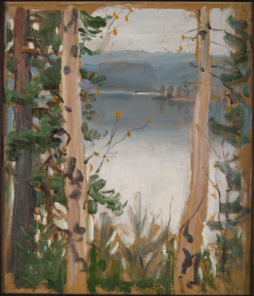 Akseli Gallen-Kallela: Syysmaisema Kalelasta (Näkymä Kalelasta Pääskynlahdelle), 1915 - 1918. öljymaalaus, yksityiskokoelma. Kuva: GKM / Jukka Paavola