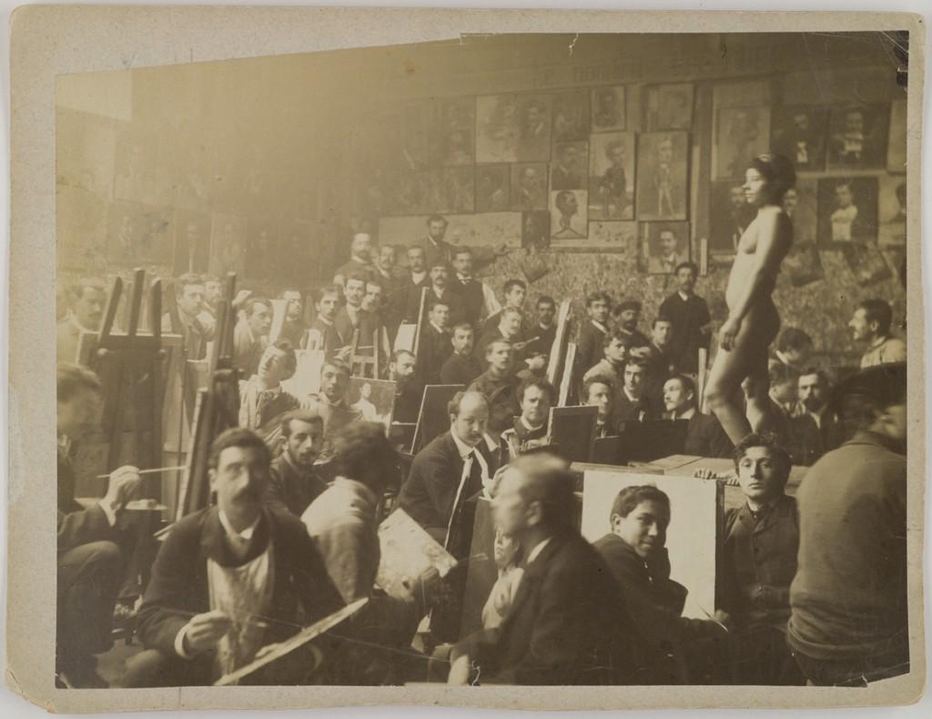 Axel Gallén ja muita taideopiskelijoita Academie Julianissa 1880-luvulla. Gallen-Kalellan Museo. Kuva: GKM