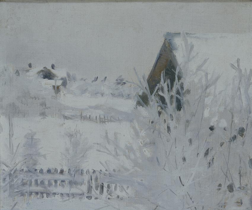 Akseli Gallen-Kallela: Talvimaisema (Harmaa talvipäivä Malmilla), 1890, öljymaalaus, yksityiskokoelma. Kuva: GKM / Hannu Aaltonen